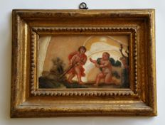 Framed oil painting on alabaster slab - Florence, Italy - 17th century