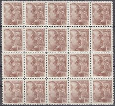 Spain 1939 - General Franco with caption from printer - 20-stamp block series - Edifil 867/868