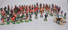 Britains, Engand - Scale 1/32 - Lot with 62 metals and 32 plastic soldiers / fanfare, 20th century
