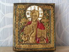 Copper on board - Christ Pantocrator icon - Russia - 20th century.