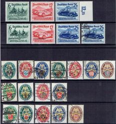 German Empire 1925/1939 - Car exhibition, Nurbürgring + Heraldry – Michel 375/377, 398/401, 425/428, 430/434, DR 686/688 + DR 695/697