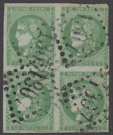 France 1870 - Bordeaux, 5c, green-yellow, block of 4, signed Calves with digital certificate - Yvert 42B.