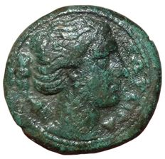 The Greek Antiquity - Sicily, Syracuse, Agathokles (317-289 BC) - Æ Litra (Bronze, 22,5mm, 9,04g.) - Bust of Artemis / Thunderbolt - SNG ANS 708; CNS II, 142