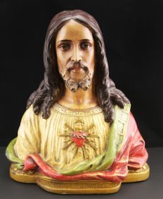 Polychrome stucco bust, Heart of Jesus - Sicily, late 19th century
