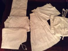 Two lace crafted dresses and three under garments - around 1920/1930