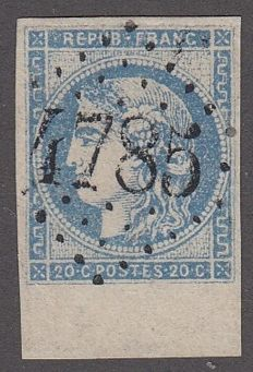 France 1870 – 20c overseas, sheet edge with Scheller certificate - Yvert 45 Cb