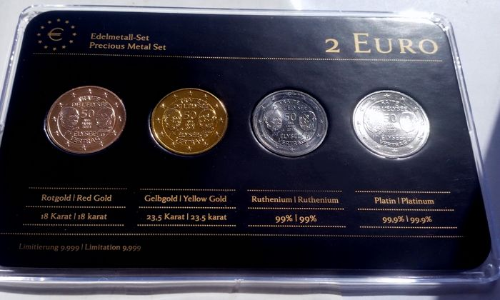 """Germany - 2 Euro coins 2013 """"Precious Metals"""", refined (4 different coins) in set"""