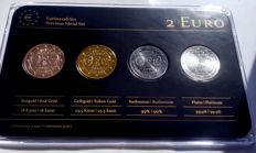 "Germany - 2 Euro coins 2013 ""Precious Metals"", refined (4 different coins) in set"