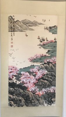 Handpainted scroll painting – China – late 20th century