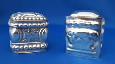 Two antique Dutch silver scent boxes, 19th century