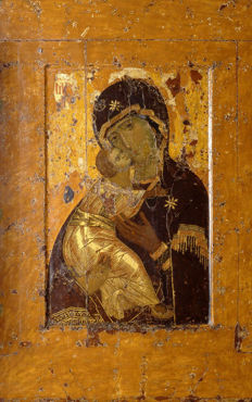 Vladimir icon of the Mother of God under the old days - High-quality printing, ark, dowels - 21 century