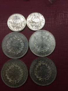 France – 5 francs and 50 francs 1960-1978 (lot of 6 coins) – Silver.
