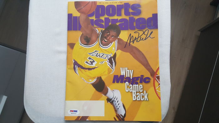 Gesigneerd Sport Illustrated magazine door Magic Johnson