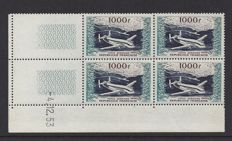 France 1954 - Aeroplane 1000 Fr in block of 4 with Coindate - Yvert PA33