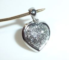 Pendant made of 14kt / 585 white gold in the shape of a heart with approx. 50 diamonds