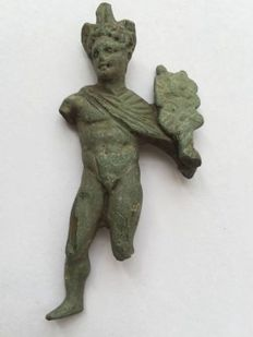 Roman bronze figure of the god Mercury  - 83 mm (75.4g)