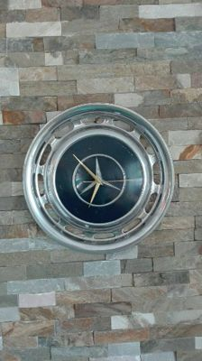 Mercedes Benz chromed wall clock made of an original hub cap