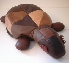 Producer unknown - 'zoomorphic beanbag': decoratively shaped leather pouf in the shape of a turtle