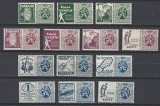 Belgium - Advertising stamps, type Heraldic Lion - OBP PU20/PU22, PU25, PU27/PU29 and PU31/PU36