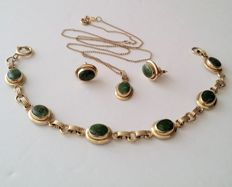 Sarah Coventry 12kt Gold Filled Jade Jewelry Set