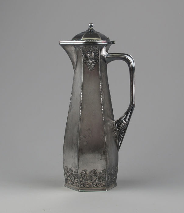 Orivit - Art Nouveau pewter wine decanter