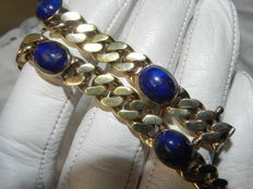Beautiful bracelet with lapis lazuli 835 silver gold-plated