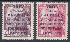 Spain 1950 – Visit of the Caudillo (Franco) to the Canary Islands CEM Certificate – Edifil 1083A/1083B