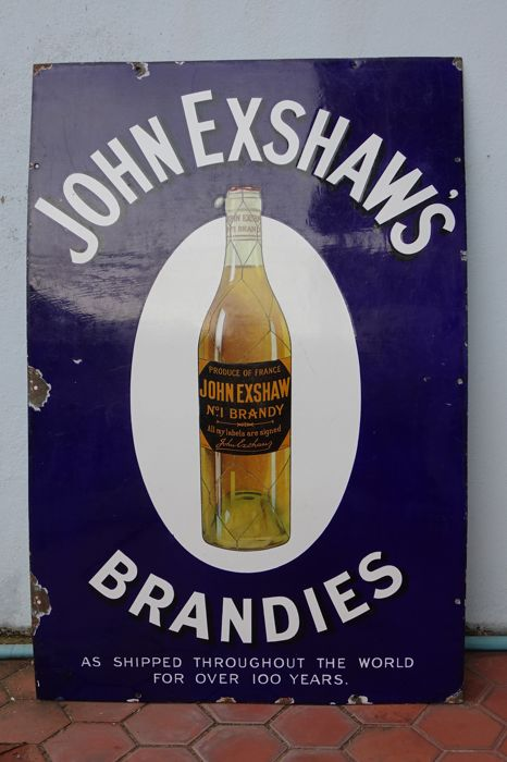 Rare Large Enamel Sign JOHN EXSHAW'S No.1 Brandy - FRANCE - 1920ies / 1930ies