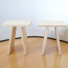 Tim Vinke for Tim Vinke Product & Interior Design - Two stools / side tables of birch multiplex