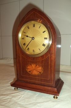 French escapement table clock with inlaid wood - around 1900