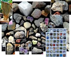 Collection of minerals and gemstones with fossils - 8130 g