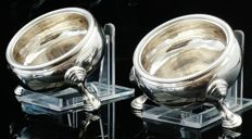 Pair of  Large Silver Master Salt Cauldrons, London 1742, Edward Wood