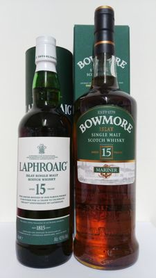 2 bottles - Laphroaig 15 years 200th anniversary edition & Bowmore 15 years Mariner