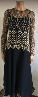 Gina Bacconi - evening/coctail dress with gold lace top
