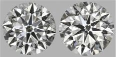 Pair of  Round Brilliant Diamonds 1.45ct total   G SI2- F SI2  IGI & EGL USA Certification - Serial# 2015-2124