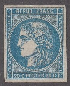 France 1871 – Bordeaux 20c Blue – Yvert n° 46B
