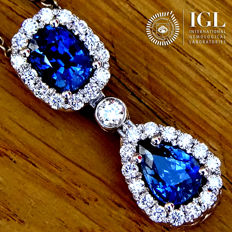 Blue Sapphire Pendant Necklace And Natural Diamond in 18 kt White Gold 2.62 ct - Certified - No Reserve