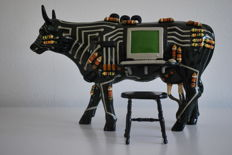 CowParade -Thomas Edmondson - type Cowputer 2001 - Large - Rare, complete with stool!