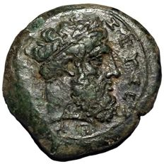 The Greek Antiquity - Sicily, Syracuse, Timoleon and Third Democracy - Æ Hemidrachm (Bronze, 25mm, 15,35g.), c. 344-338 BC - Head of Zeus Eleutherios / Winged thunderbolt - CNS 72; HGC 2, 1440