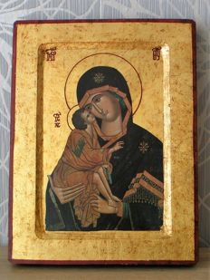 Lithography - Icon of Virgin Mary with Jesus - Greece - 20th century