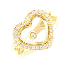 Ring in 18 kt gold, heart of 3o diamonds and a free diamond. Never worn! - Size 52.