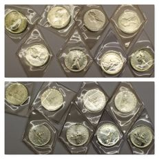 Republic of Italy – 500 lire 'Caravelle' from 1969 to 1986 (8 coins) – silver