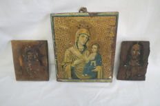 Three ancient orthodox icons. The exact age is not known.