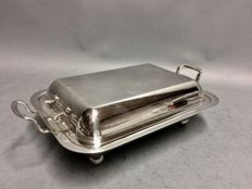 Silverplated double serving tray for game with two handles, England, circa 1925