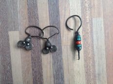 An antique silver and coral men's earring from tibet + a pair of antique silver Chinese earrings