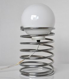 Elco Lite - Chrome steel, spiral-shaped, spring table lamp.