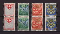 The Netherlands 1926 - double-sided syncopated perforation - NVPH R74/R77 in pairs