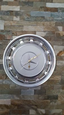 Mercedes Benz - chrome wall clock made from an original hub cap