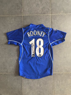 Wayne Rooney Everton FC 2002 retro shirt with photo evidence and certificate of authenticity