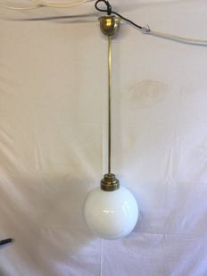 Unknown designer - School lamp with milk / opaline glass with brass fixtures
